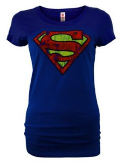 LOGOSHIRT DC Comic Retro Damen Shirt SUPERMAN LOGO Blau Gr. M New Girl