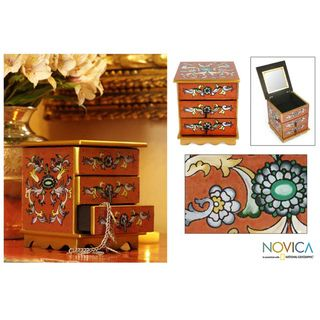 Reverse Painted Glass Autumn Magic Jewelry Box (Peru)