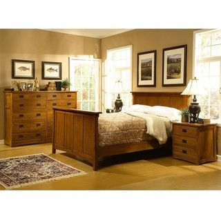 Mission Solid Oak 4 pc Panel Queen Bedroom Set w/ 12 Drawer Chest