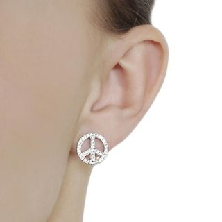 Tressa Silvertone Pave set CZ Peace Sign Earrings