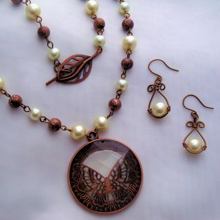 Heavenly Beads Copper Butterfly Pearl Necklace and Earring Set