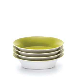 Rachael Ray Round and Square 4 piece Green Apple Pasta Bowl Set