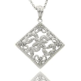 Sterling Silver Diamond Accent Filigree Flower Design Necklace