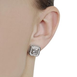Journee Collection Silvertone Pave set and Cushion cut CZ Stud
