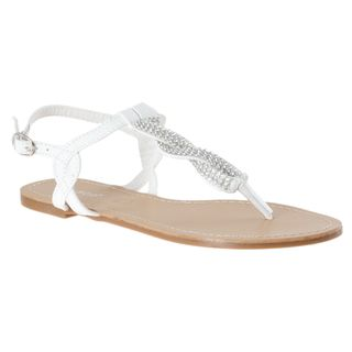 Riverberry Womens Armin 01 White Rhinestone T strap Sandals