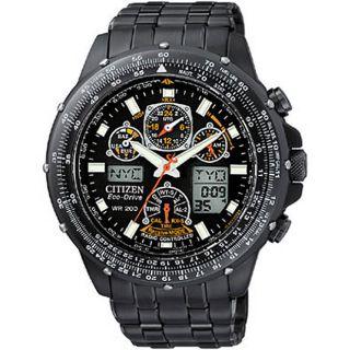 Citizen Eco Drive Skyhawk A T Mens Black Steel Watch