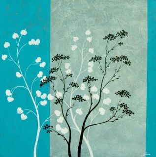 Turquoise Blooms Gallery wrapped Canvas Art