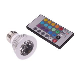 E27 3 watt 16 color Remote Control LED Light Bulb