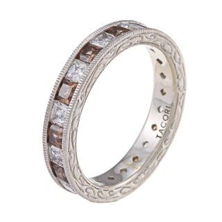 Tacori IV Platinum/ Silver Brown and Clear CZ Epiphany Eternity Band