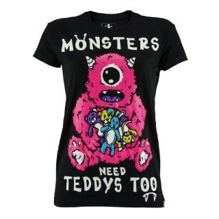 Cupcake Cult Girl Shirt MONSTER TEDDY black