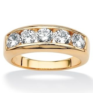 Ultimate CZ 18k Gold over Sterling Silver Mens Cubic Zirconia Wedding