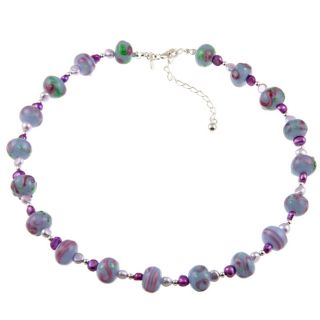 Sterling Silver Purple Pearl and Bead Necklace (5 mm)