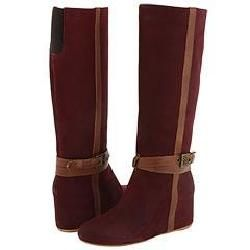 8020 Charlie Belted Military Hidden Wedge Boot Wine Nubuck Leather