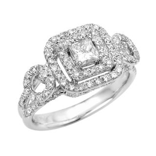 Sterling Silver Moissanite/CZ and 2/5ct TDW Diamond Engagement Ring (G