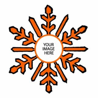 Christmas Tree Ornament Snowflake 1 Orange White Acrylic Cut Out