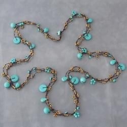 Cotton Rope 3 strand Turquoise and Brass Beads Necklace (Thailand