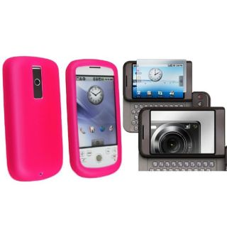 Hot Pink Silicone Skin Case/ Mirror Screen Protector for HTC Magic