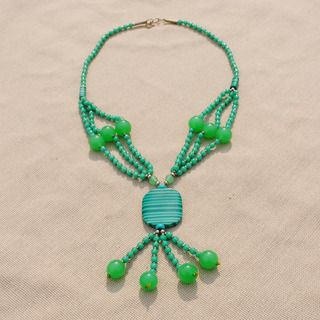 Handcrafted Tribal Light Green Beaded Necklace (Afghanistan