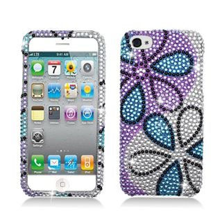 BasAcc Full Diamonds Blue Purple Flower Case for Apple iPhone 5