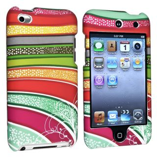 Colorful Strips Rubber Coated Case for Apple iPod Touch Generation 4