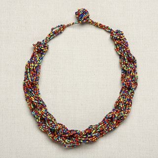Rainbow Colored Braided Glass Bead Necklace (India)