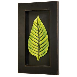 Green Glass Leaf in Black Wood Shadow Box Wall Art