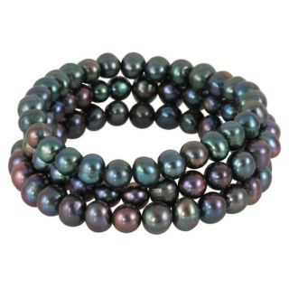 Set of 3 Maddy Emerson Black Freshwater Pearl Bracelets (8 mm