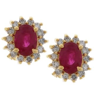 14k Gold 1/3ct TDW Diamond Ruby Cluster Earrings