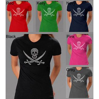 Los Angeles Pop Art Pirate Flag Jolly Roger Womens T shirt