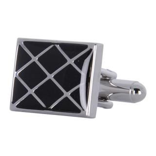 Cuff Daddy Metal Black Glass Waffle Pattern Cuff Links