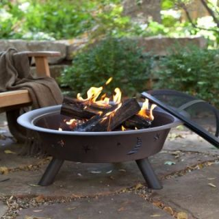 30 Inch Stars and Moon Fire Pit   Rustic Patina   Wood Burning Fire