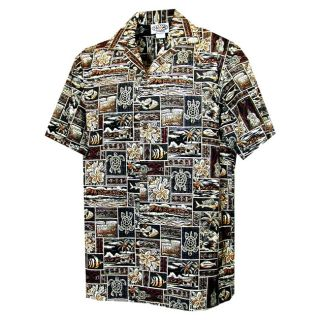 Turtle Tapa Boys Brown Hawaiian Aloha Shirt