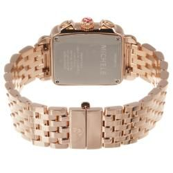 Michele Womens Deco 18k Rose gold Diamond Watch