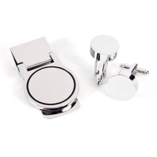 Bey Berk Silver Round Cufflinks and Money Clip Set   Cuff Links at