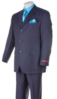 FUBU Mens Dark Blue Pinstripe Suit