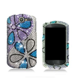 Premium Huawei Impulse 4G Blue Flower Rhinestone Case