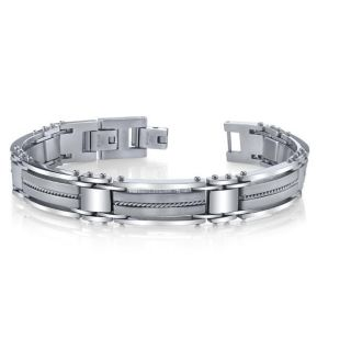 Stainless Steel Mens Wire Inlay Link Bracelet