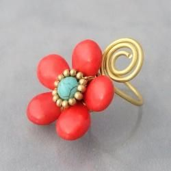 Brass Wire Red Coral and Turquoise Flower Wrap Ring (Thailand