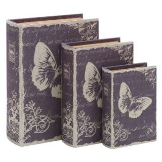 Benzara 9 13H in. Paris Butterfly Theme Book Box Set   Decorative