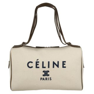 Celine Ivory Logo Canvas Bowler Bag
