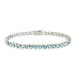 Glitzy Rocks Sterling Silver Swiss Blue Topaz Tennis Bracelet