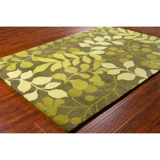 Allie Handmade Floral Green Wool Rug (5 x 76)