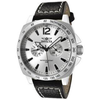 Invicta Mens Invicta II Silver Dial Black Leather Strap Watch