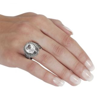 Journee Collection Silvertone Oval cut CZ Ornate Ring