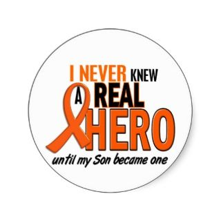 Orange Ribbon Stickers, Leukemia Orange Ribbon Sticker Designs