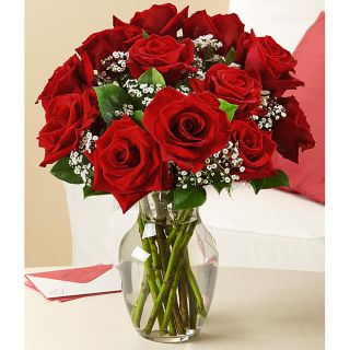 One Dozen Red Roses with Large Rose Vase