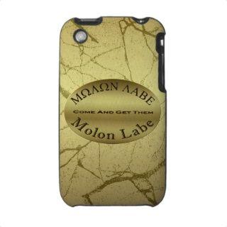Molon Labe 2nd Amendment Gun Rights Slogan in Gold iPhone 3 Cases