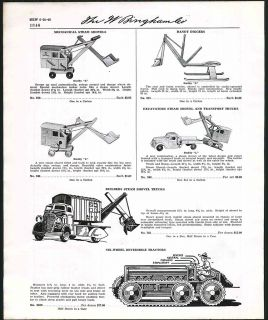 1939 40 Ad Buddy L Steam Shovels Steam Engine Horse wagon ORIGINAL