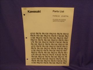Kawasaki FA76D 24 Parts List 4 Cycle Gas Engine