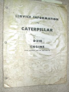 Caterpillar D318 D 318 Diesel Engine Service Manual Cat